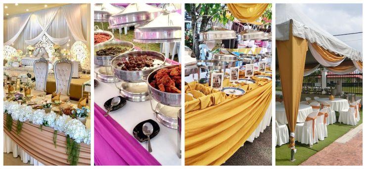 Meja buffet, kanopi dan susun atur pelamin oleh Raja Briyani Catering, syarikat katering perkahwinan murah